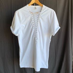 Emma and Sam White Lace-Up Front Oversized Tee, SM